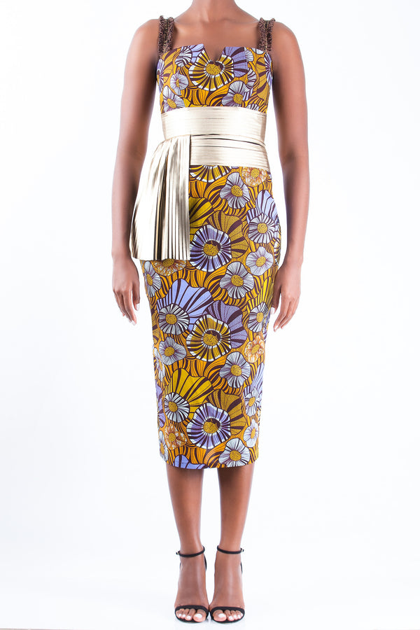 PENCIL DRESS WITH GOLD PLEAT DETAIL