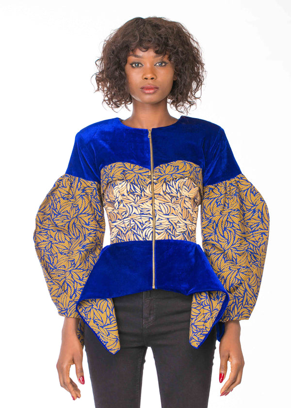 VELVET PEPLUM JACKET WITH EMBROIDERY DETAIL (PRE-ORDER)