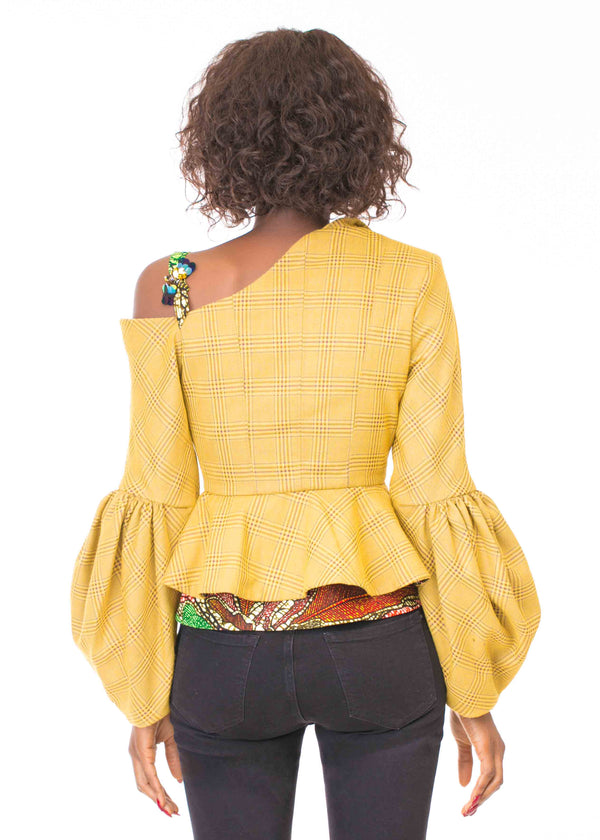 OFF SHOULDER YELLOW PLAID JACKET