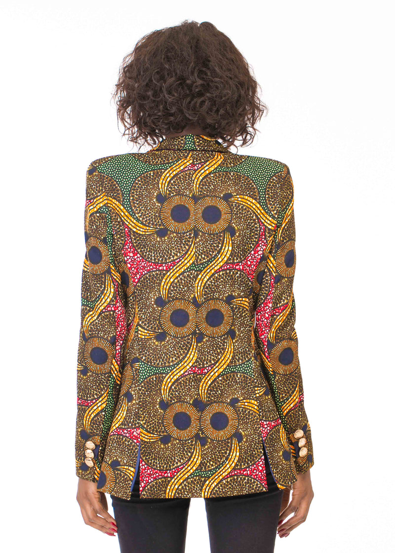 DOUBLE BREASTED PRINT BLAZER WITH VELVET LAPELS