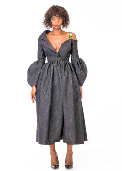 OFF SHOULDER BROCADE FULL SKIRTED DRESS