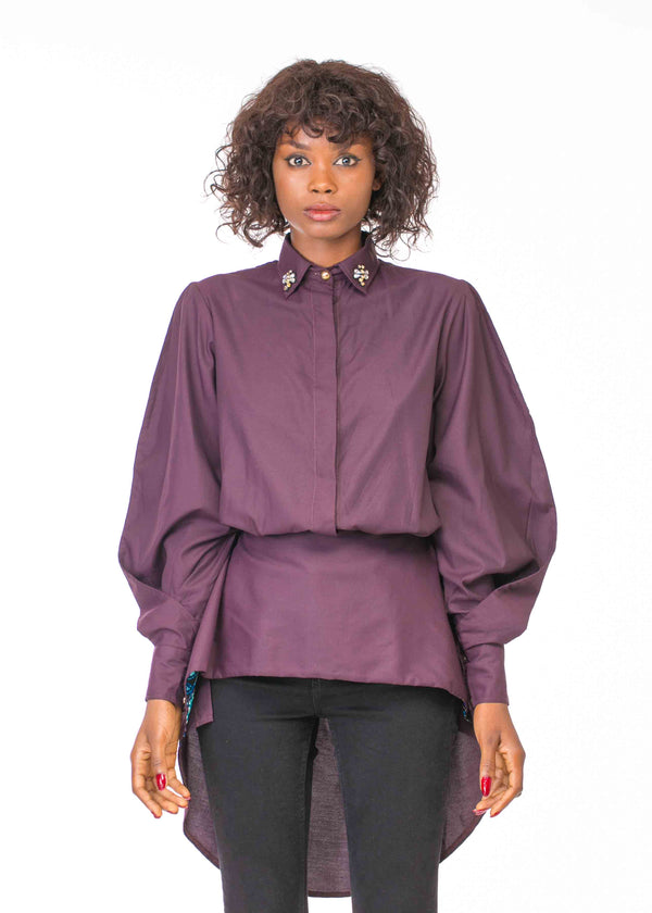 LONG SLEEVE BUTTON DOWN 2 WAY PEPLUM SHIRT