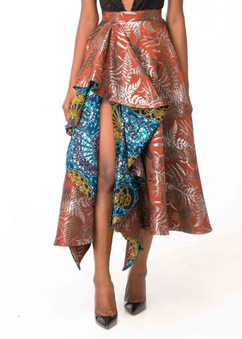 FULL JACQUARD SKIRT WITH WAX PRINT DETAIL AND THIGH SLIT