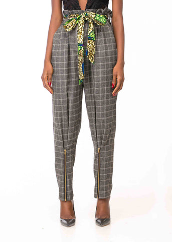 PAPER BAG WAIST PLAID PANTS