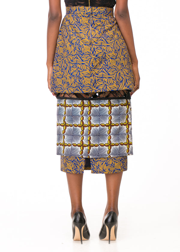 COLUMN MULTILAYERED SKIRT WITH STENCIL INSERT