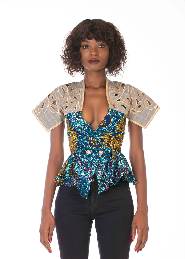 WAX PRINT JACKET WITH EMBROIDERED YOKE (PRE-ORDER)