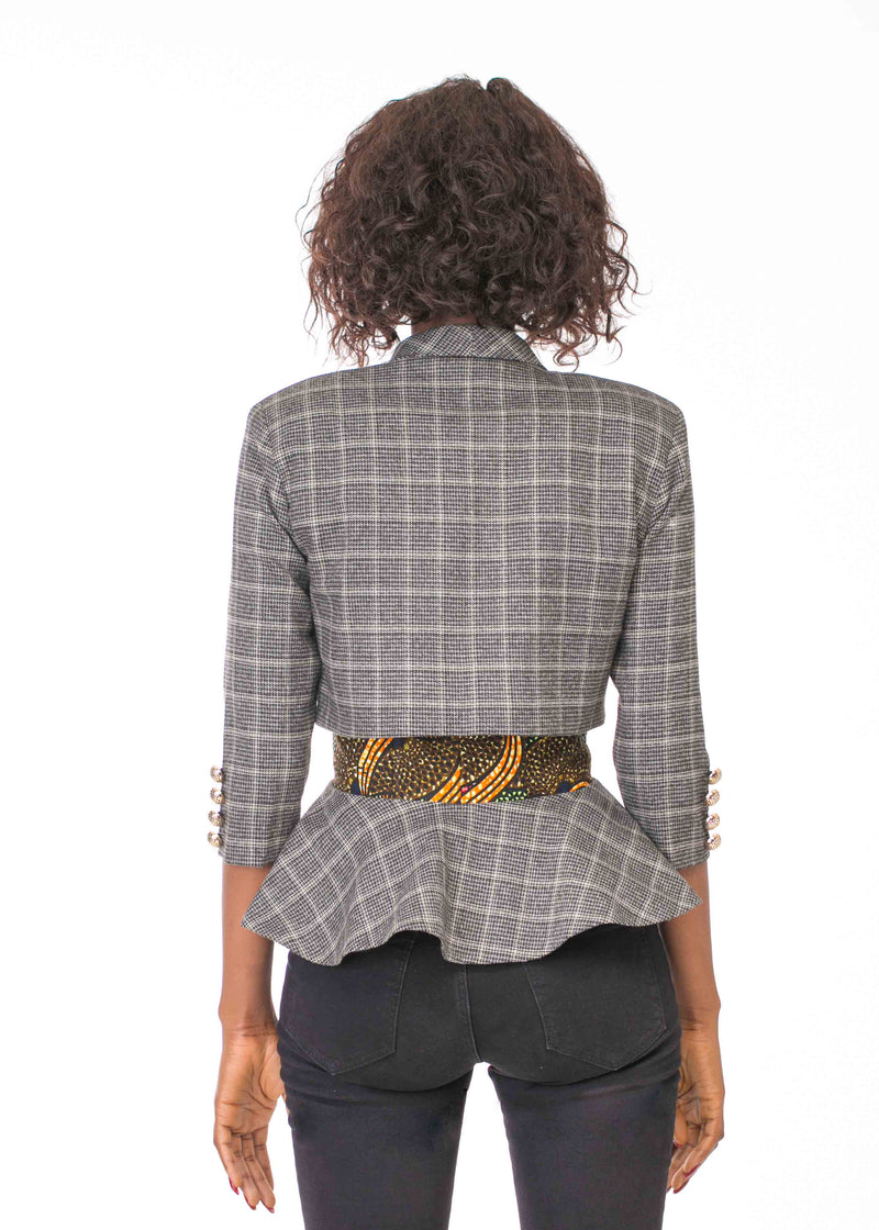 ELBOW SLEEVE TWEED JACKET WITH FAUX PEPLUM AND BUCKLE