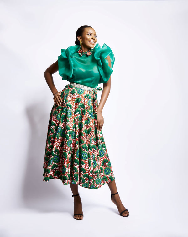 AYANA WRAP SKIRT - GREEN