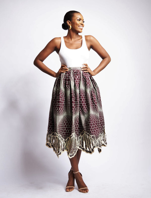 JEMILA FULL SKIRT WITH STENCIL BOTTOM