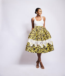 MAHA PRINT SKIRT WITH LACE DETAIL