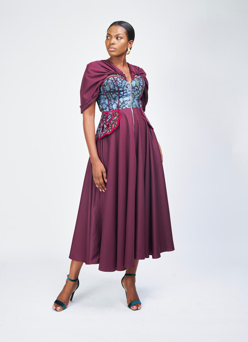FIT AND FLARE DRESS - PLUM