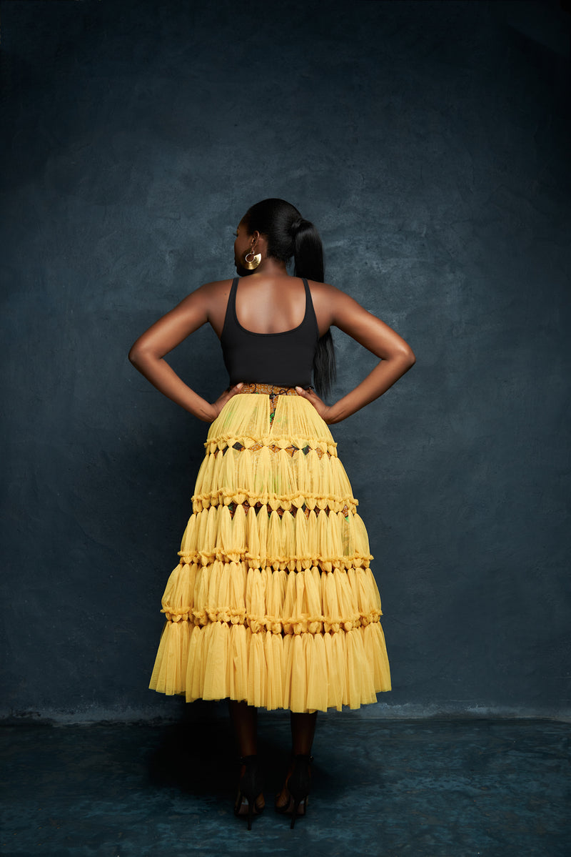 TULLE CUT OUT FULL SKIRT - YELLOW