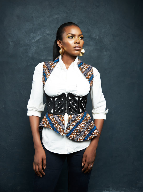 SLEEVELESS CORSET JACKET - BLUE PRINT