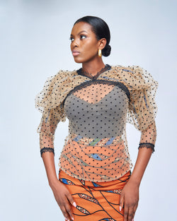 THE DRAMATIC SLEEVED BLOUSE - SWISS DOT