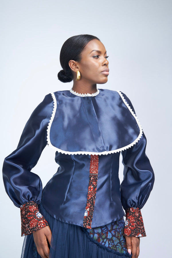 THE CAPE BLOUSE - NAVY