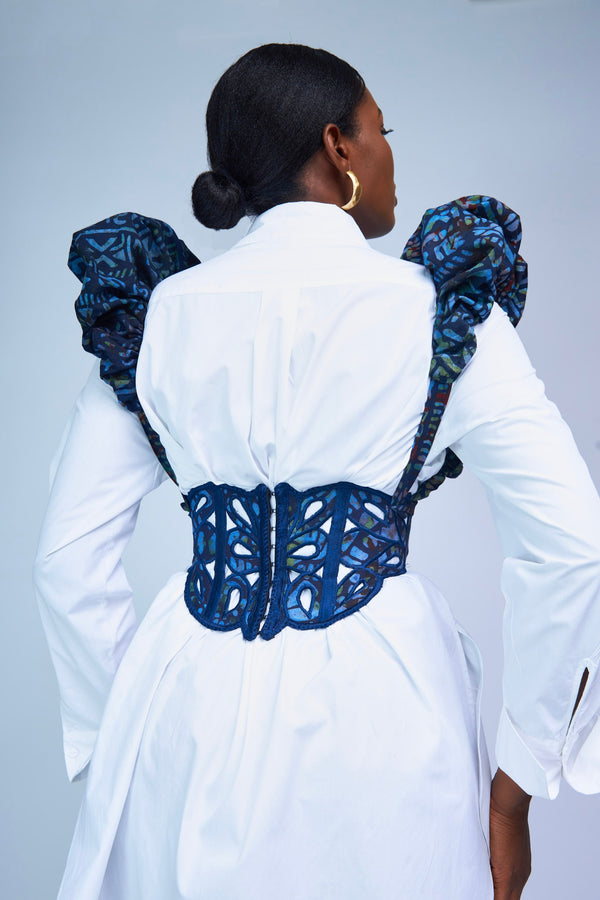 STENCIL CORSET WITH RUFFLE SLEEVES