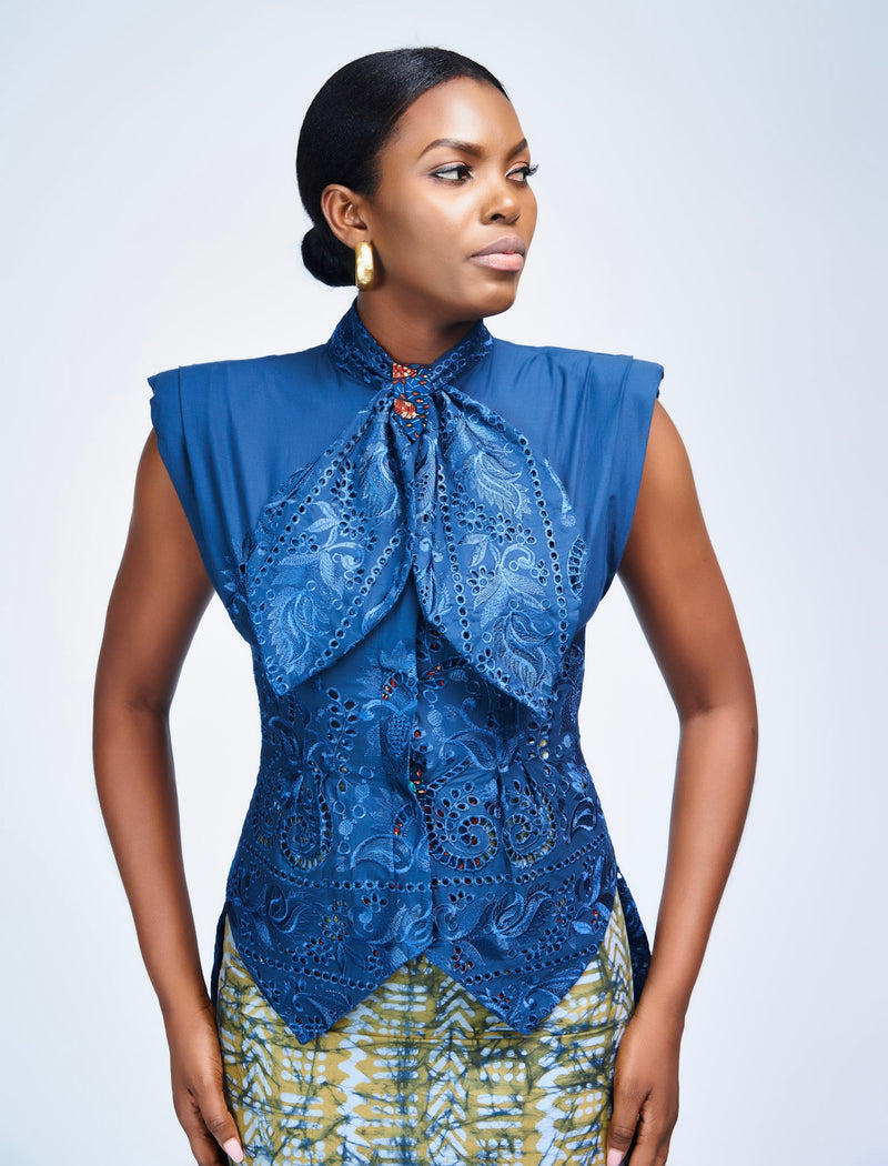 PADDED SHOULDER BLOUSE - NAVY