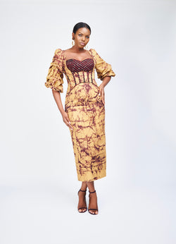 VOLUMINOUS SLEEVE COLUMN DRESS - BATIK