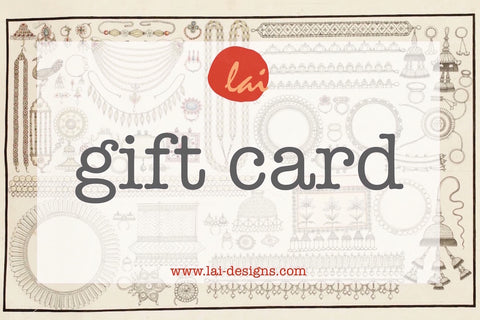 Gift Card. Handcrafted sterling silver jewelry by Lai