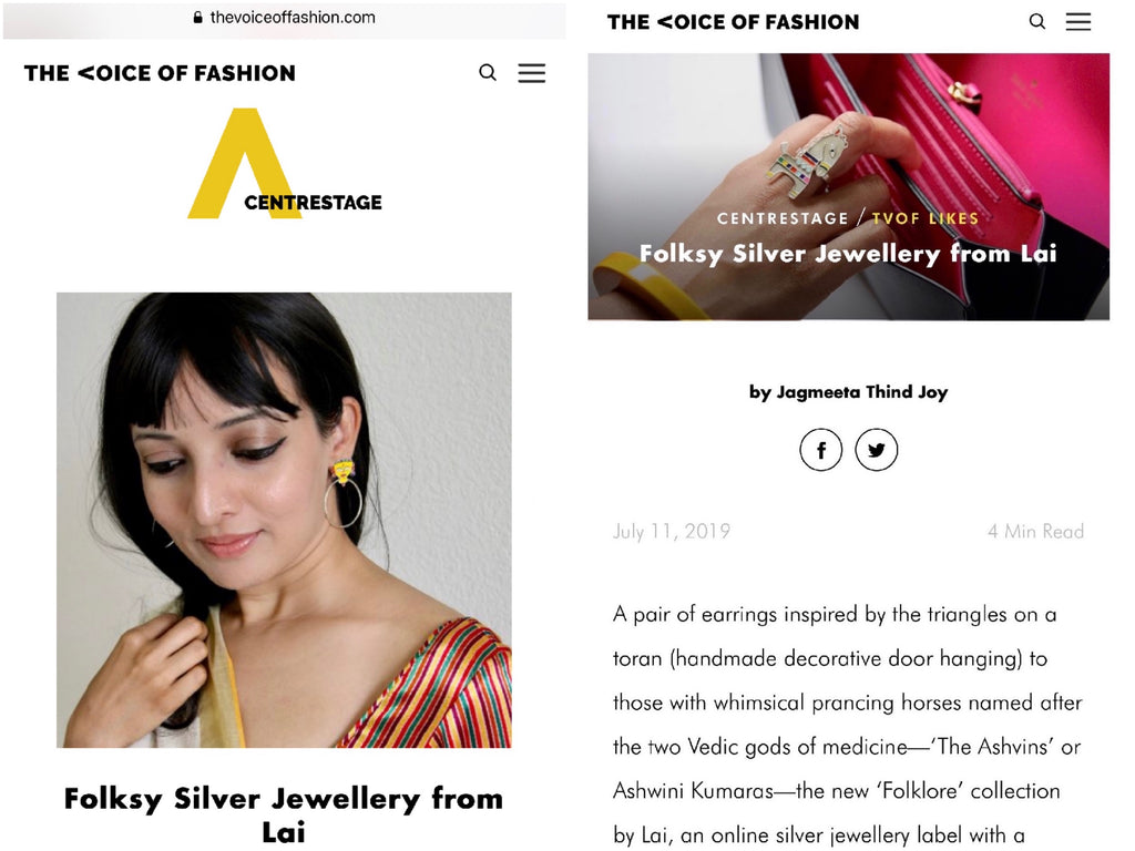 Lai's Folklore, sterling silver jewellery collection, in The Voice of Fashion (VOF). Press. India.