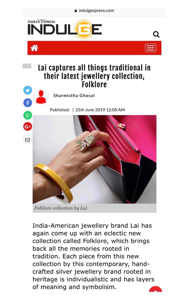 Lai's sterling silver jewellery collection, Folklore, featured in the new Indian Express Indulge