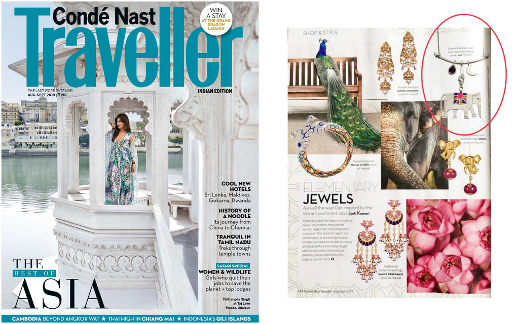 Lai's sterling silver elephant charm necklace from Folklore collection, featured in Conde Nast Traveller India's August 2019 issue