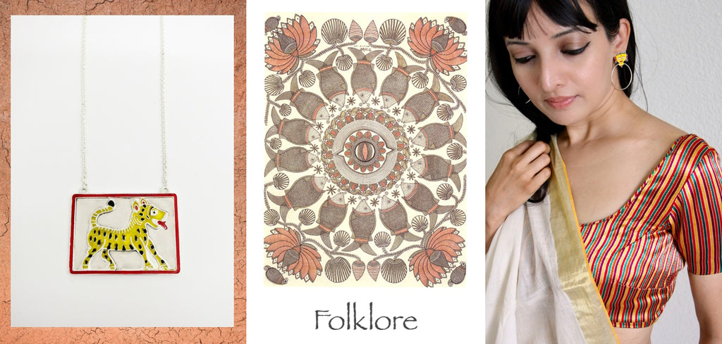 folklore, a collection of handcrafted contemporary silver jewellery, inspired by Indian folk motifs