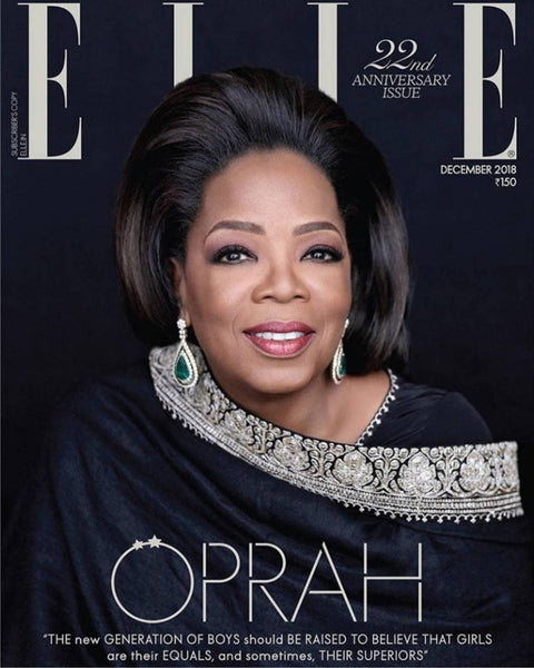 Elle India's December 2018 22nd Anniversary issue with Oprah Winfrey in Sabyasachi
