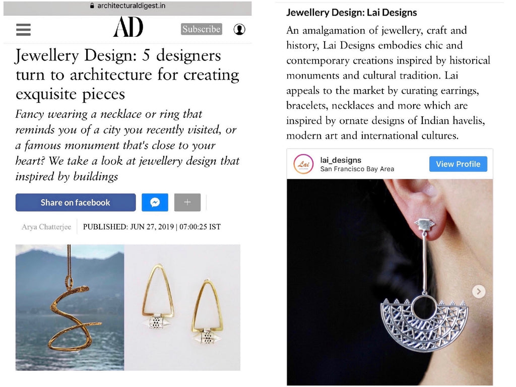 "Lai featured in Architectural Digest India's round up of 5 jewellery designers who ""turn to architecture for creating exquisite pieces""."