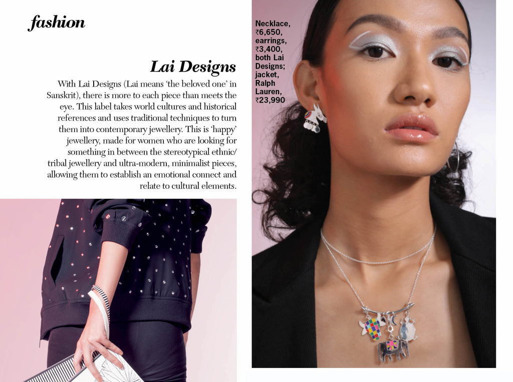 Cosmopolitan India September'19 -the big accessories issue featuring Lai Folklore collection silver jewellery