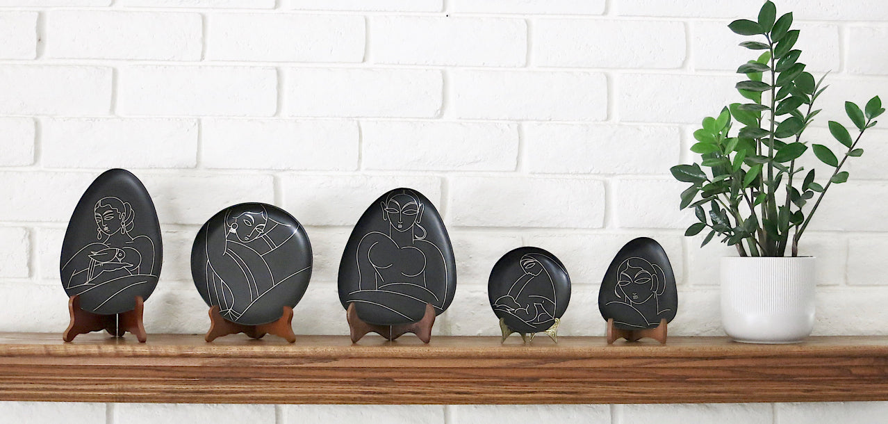 Decorative accent plates. Bidri metal and silver plates Design-led, luxe, handmade home decor art objects. Handmade in India by Lai and Craft Stories