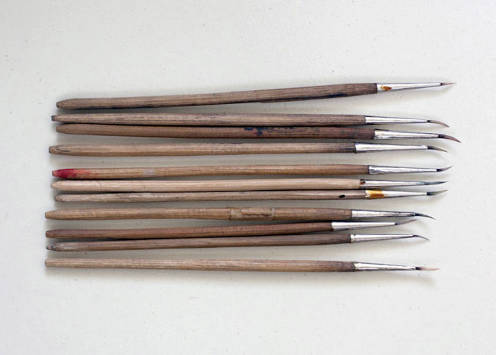 Indian Miniature Paintings: Special brushes made out of squirrel hair are used for making painting. (by Lai)