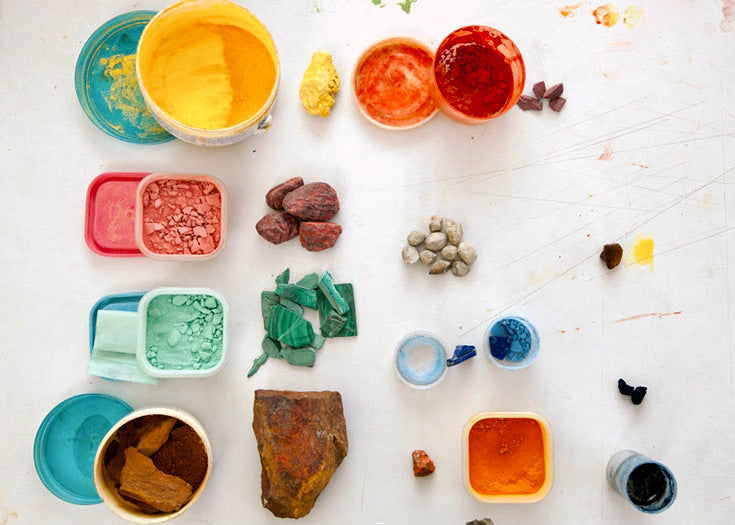 Indian Miniature Paintings: Various natural colors are obtained from different rocks. These are further processed to form usable colors (by Lai)