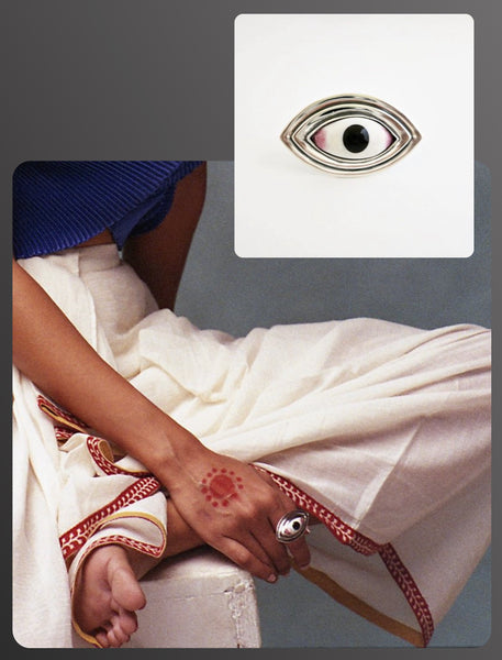 Elle India beauty editorial featuring Lai statement deity eye ring