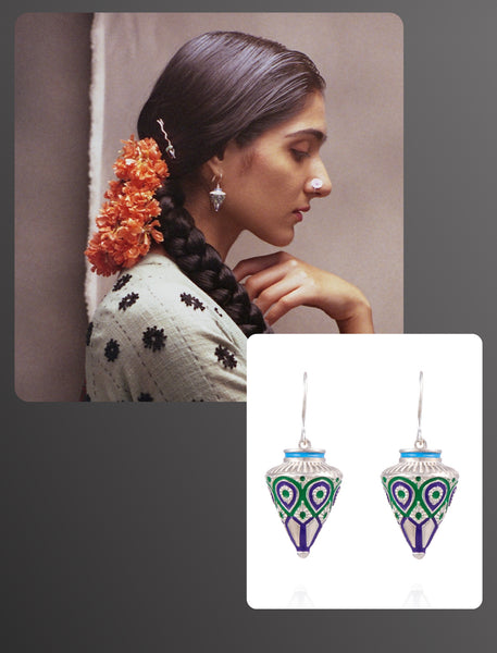 Elle India beauty editorial featuring Lai's enamel Himachali traditional tribal drop cone shape earrings