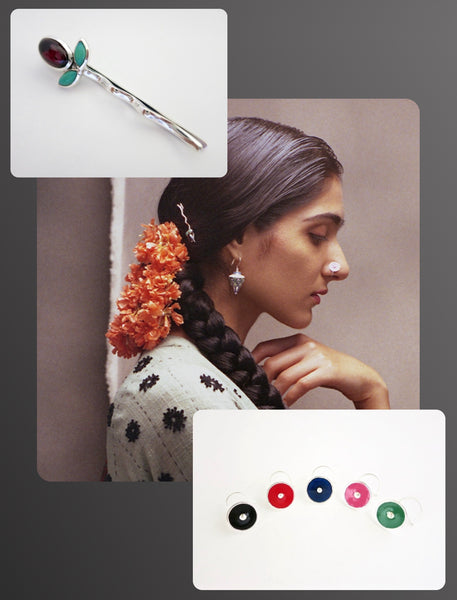 Elle India beauty editorial featuring Lai's enamel dramatic nose pin and sterling silver gem stone hair clip
