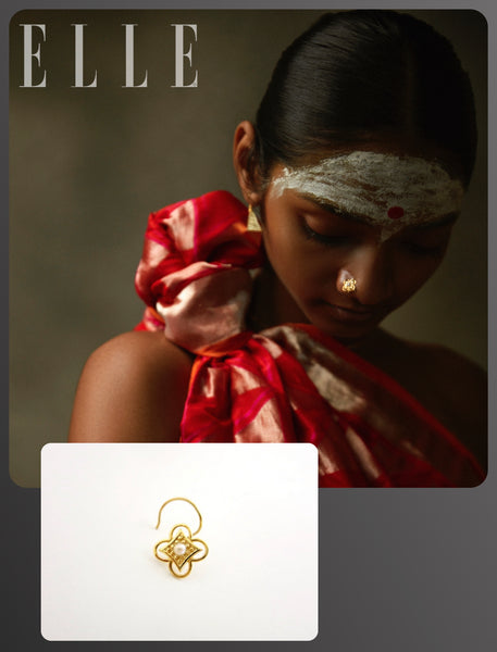 Elle India beauty editorial featuring Lai's gold plated traditional small light weight nose pin with pearl