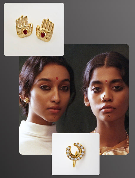 Elle India beauty editorial featuring Lai's traditional old world crescent seed pearls nose pin and sterling silver gold plated deity hand garnet stud earrings