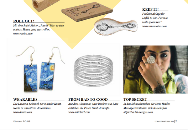 Trend and Style, trade magazine Germany on NY NOW 2018 trends. Lai sterling silver jewellery- hidden messages