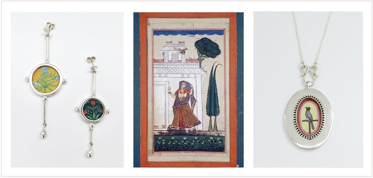 The Miniaturist. Miniature painting Sterling silver handmade jewelry by Lai India