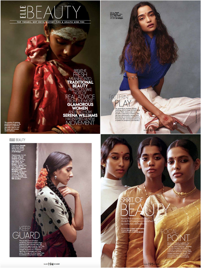 Elle India beauty editorial featuring Lai's sterling silver 925 nose pins, deity eye ring, ear studs, arm band, anklet, hair clip, hair ornaments