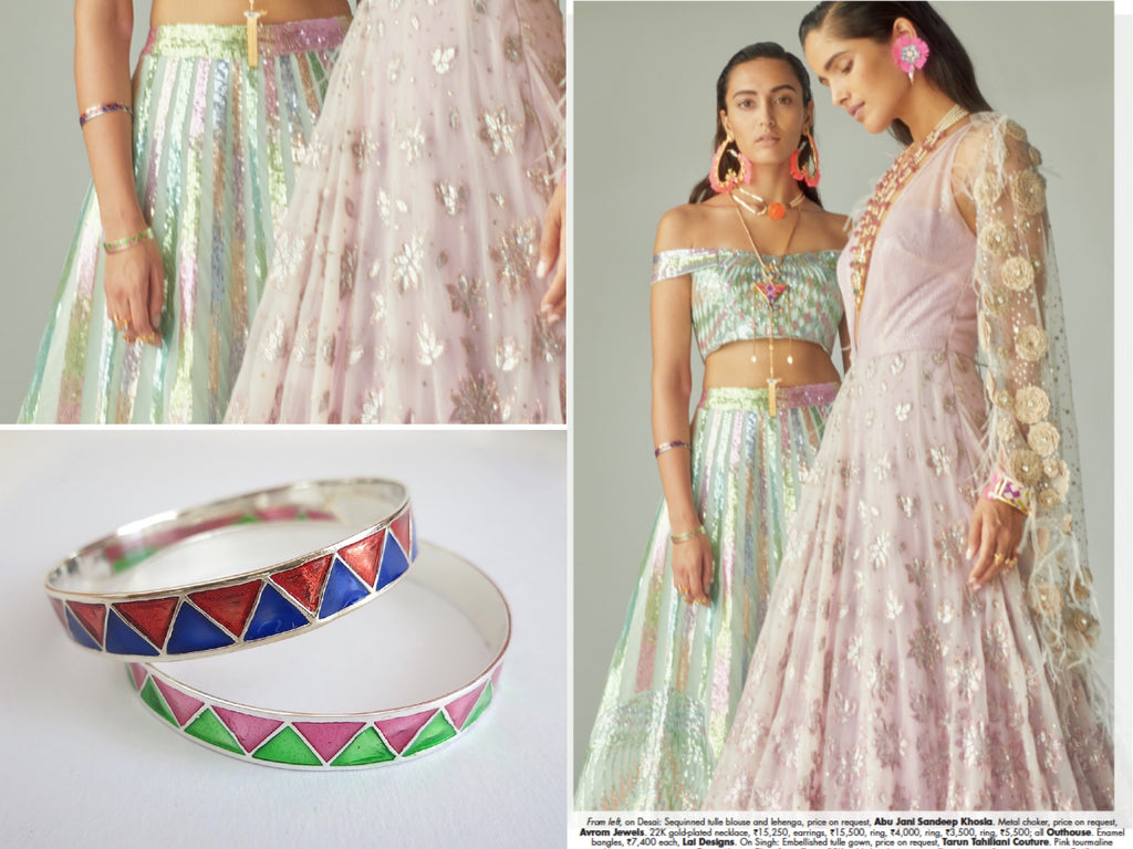 Elle India November'18 Bridal Editorial Minimalism vs Maximalism Lai enamel chevron bangles