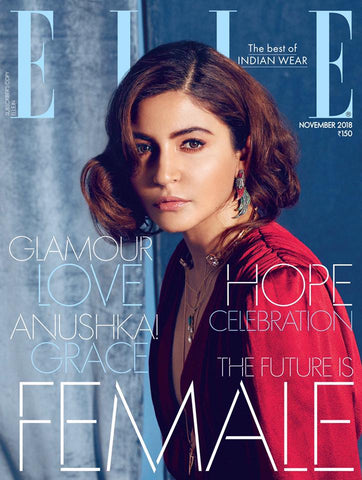 Elle India November'18 Bridal Editorial Minimalism vs Maximalism Anushka Sharma Lai pearl statement earrings