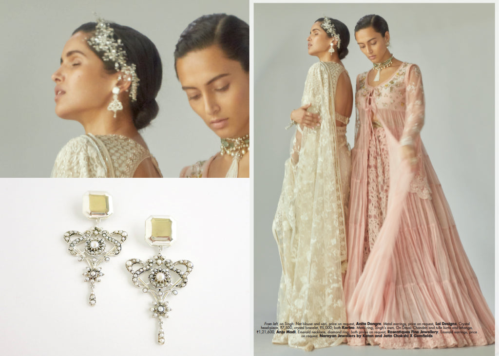 Elle India November'18 Bridal Editorial Minimalism vs Maximalism Lai pearl statement earrings