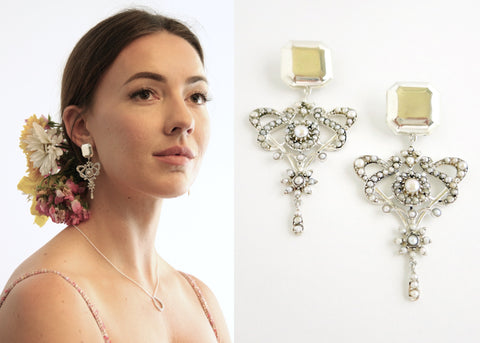 Luxurious, opulent, pearl encrusted statement earrings (PB-10471-ER)