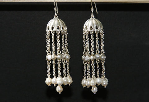 Ravishing long pearl jhumkas (PB-9142-ER)  Earrings Sterling silver handcrafted jewellery. 925 pure silver jewellery. Earrings, nose pins, rings, necklaces, cufflinks, pendants, jhumkas, gold plated, bidri, gemstone jewellery. Handmade in India, fair trade, artisan jewellery.