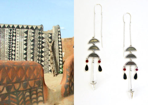 Artistic, chic, long threader earrings with enamel detailing (PB-10264-ER)  Earrings Sterling silver handcrafted jewellery. 925 pure silver jewellery. Earrings, nose pins, rings, necklaces, cufflinks, pendants, jhumkas, gold plated, bidri, gemstone jewellery. Handmade in India, fair trade, artisan jewellery.