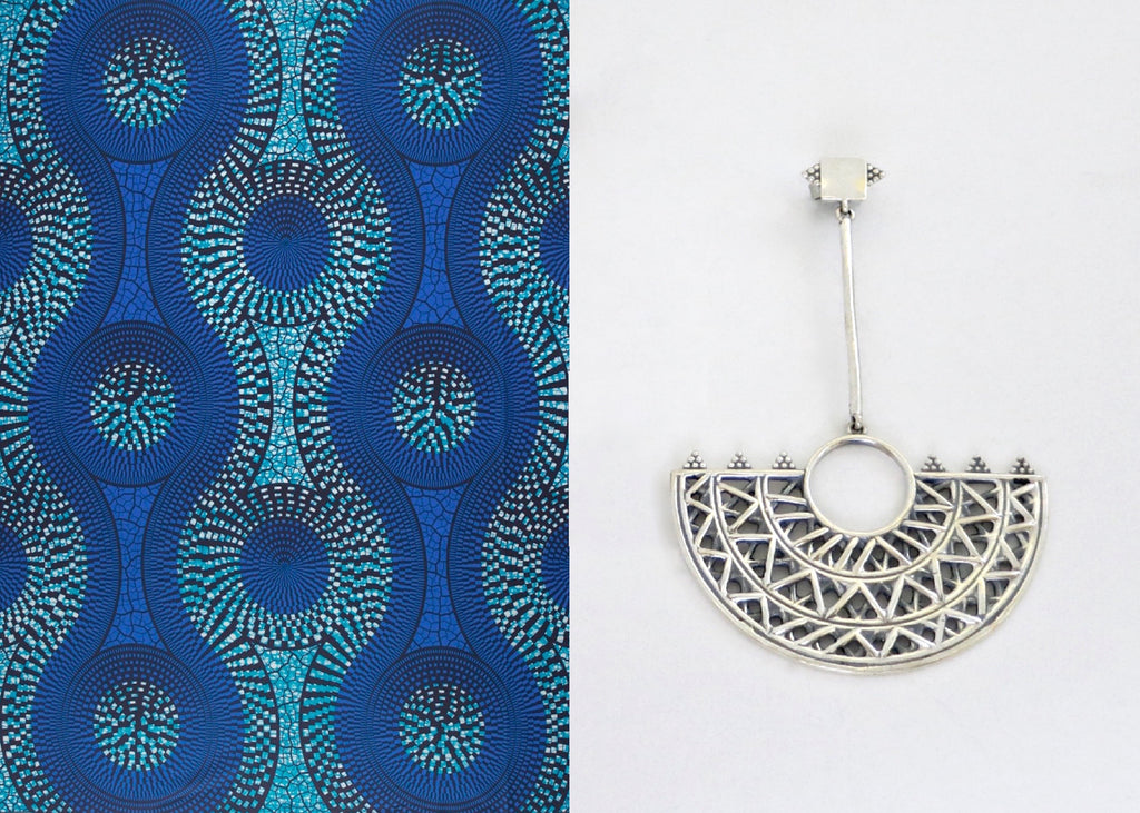 Exquisite, Africa inspired, long statement earrings with lattice and granulation detailing (PB-10255-ER)  Earrings Lai designer sterling silver 925 jewelry that is global culture inspired artisanal handcrafted handmade contemporary sustainable conscious fair trade online brand shop
