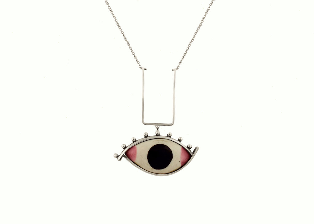 Striking ''Chakshu' (deity eye) necklace (PB-2612-N)  Necklace, Pendant Sterling silver handcrafted jewellery. 925 pure silver jewellery. Earrings, nose pins, rings, necklaces, cufflinks, pendants, jhumkas, gold plated, bidri, gemstone jewellery. Handmade in India, fair trade, artisan jewellery.
