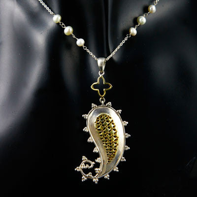 Exquisite, paisley jali pendant with pearls accented chain  Necklace, Pendant Sterling silver handcrafted jewellery. 925 pure silver jewellery. Earrings, nose pins, rings, necklaces, cufflinks, pendants, jhumkas, gold plated, bidri, gemstone jewellery. Handmade in India, fair trade, artisan jewellery.